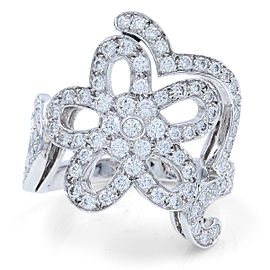 Van Cleef & Arpels 18K White Gold with 1.56ctw Diamond Floral Ring