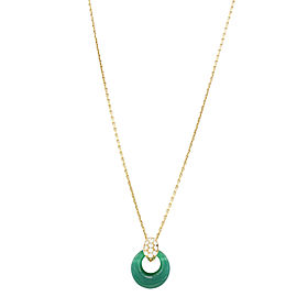 Van Cleef & Arpels 18K Yellow Gold with 0.32ctw Diamond and Green Chalcedony Pendant Necklace