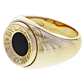 Bulgari 18K Yellow Gold Onyx, Diamond Ring Size 5.5