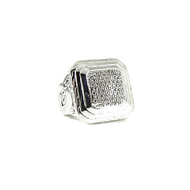 John Hardy Sterling Silver .46tcw Large Square Pave Diamond Classic Chain Ring