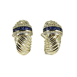 David Yurman Vintage 18K Yellow Gold Sapphire Diamond Earrings
