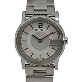 GUCCI 101L G round YA101506 Silver Dial SS/SS Quartz Ladies Watch