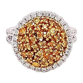 Round Shape / Natural Fancy Yellow Diamonds / Cluster Engagement Ring