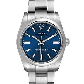 Rolex Oyster Perpetual 34mm Blue Dial Steel Mens Watch 124200 Unworn