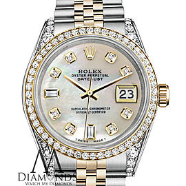 Ladies Rolex 26mm Datejust Two Tone Bezel & Lugs White MOP Mother Of Pearl 8 + 2 Dial Hidden Clasp