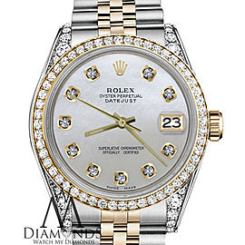 Ladies Rolex 26mm Datejust Two Tone Bezel & Lugs White MOP Mother Of Pearl Dial with Accent Hidden Clasp