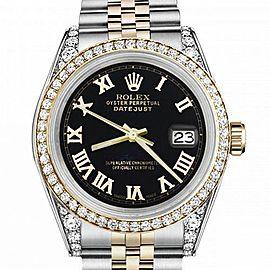 Women's Rolex 31mm Datejust Two Tone Bezel & Lugs Black Color Roman Numeral Dial Hidden Clasp