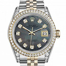 Women's Rolex 31mm Datejust Two Tone Bezel & Lugs Black MOP Mother Of Pearl Dial with Accent RT Hidden Clasp