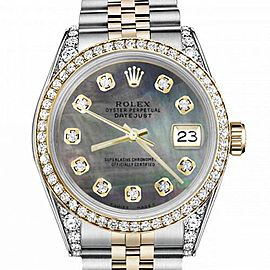 Women's Rolex 31mm Datejust Two Tone Bezel & Lugs Black MOP Mother Of Pearl Dial Hidden Clasp