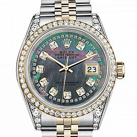 Women's Rolex 31mm Datejust Two Tone Bezel & Lugs Black MOP Mother of Pearl String Accent Dial Hidden Clasp