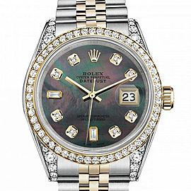 Women's Rolex 31mm Datejust Two Tone Bezel & Lugs Black MOP Mother Of Pearl with 8 + 2 Accen Hidden Clasp