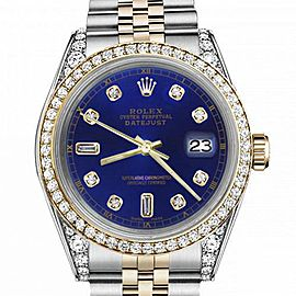 Women's Rolex 31mm Datejust Two Tone Bezel & Lugs Blue Color Dial with 8+2 Accent Hidden Clasp