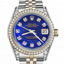 Women's Rolex 31mm Datejust Two Tone Bezel & Lugs Blue Color Treated MOP Mother Of Pearl Dial