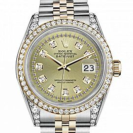 Women's Rolex 31mm Datejust Two Tone Bezel & Lugs Champagne Color String Accent Dial Hidden Clasp