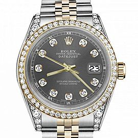Women's Rolex 31mm Datejust Two Tone Bezel & Lugs Dark Grey Color Dial with Accent Hidden Clasp