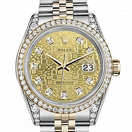 Women's Rolex 31mm Datejust Two Tone Bezel & Lugs Dial with Champagne Gold Jubilee Metal Plate Hidden Clasp