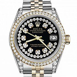 Women's Rolex 31mm Datejust Two Tone Bezel & Lugs Glossy Black String Accent Dial Hidden Clasp