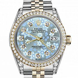 Women's Rolex 31mm Datejust Two Tone Bezel & Lugs Glossy Ice Blue Flower Dial with Accen Hidden Clasp