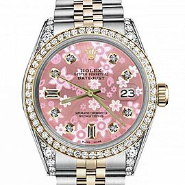 Women's Rolex 31mm Datejust Two Tone Bezel & Lugs Glossy Pink Flower Dial with 8 + 2 Accent Hidden Clasp
