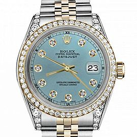 Women's Rolex 31mm Datejust Two Tone Bezel & Lugs Ice Blue Color Dial with Accent RT Hidden Clasp