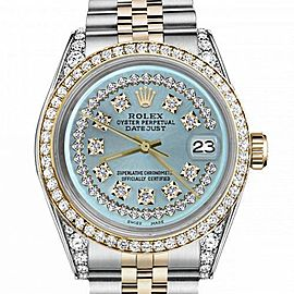 Women's Rolex 31mm Datejust Two Tone Bezel & Lugs Ice Blue String Dial Hidden Clasp
