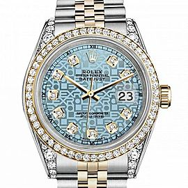 Women's Rolex 31mm Datejust Two Tone Bezel & Lugs Jubilee Ice Blue Color Dial with Accent Hidden Clasp