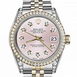 Women's Rolex 31mm Datejust Two Tone Bezel & Lugs Metallic Pink Dial Hidden Clasp
