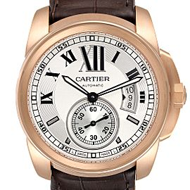 Cartier Calibre Rose Gold Silver Dial Automatic Mens Watch W7100009