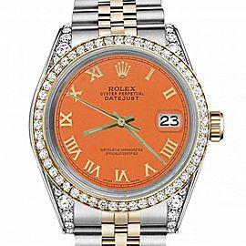 Women's Rolex 31mm Datejust Two Tone Bezel & Lugs Orange Color Roman Numeral Dial Hidden Clasp
