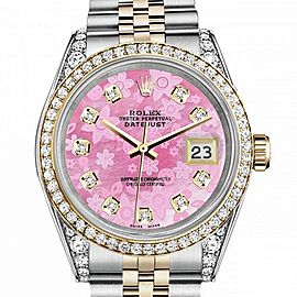 Women's Rolex 31mm Datejust Two Tone Bezel & Lugs Pink Flower MOP Dial with Hidden Clasp