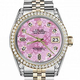 Women's Rolex 31mm Datejust Two Tone Bezel & Lugs Pink Flower MOP Mother of Pearl Dial with 8+2 Hidden Clasp