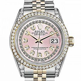 Women's Rolex 31mm Datejust Two Tone Bezel & Lugs Pink String Dial Hidden Clasp