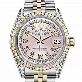 Women's Rolex 31mm Datejust Two Tone Bezel & Lugs Pink String Dial with Vintage Style Marker Hidden Clasp