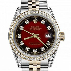 Women's Rolex 31mm Datejust Two Tone Bezel & Lugs Red Vignette Color Dial with Accent RT Hidden Clasp