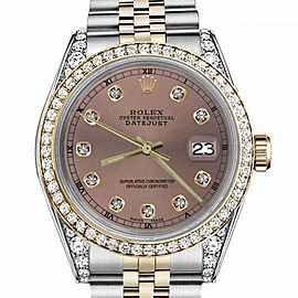 Women's Rolex 31mm Datejust Two Tone Bezel & Lugs Salmon Color Dial with Accent RT Hidden Clasp
