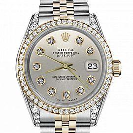 Women's Rolex 31mm Datejust Two Tone Bezel & Lugs Silver Color Dial Hidden Clasp