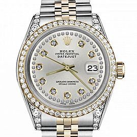 Women's Rolex 31mm Datejust Two Tone Bezel & Lugs Silver Color String Accent Dial Hidden Clasp