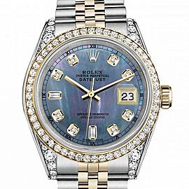 Women's Rolex 31mm Datejust Two Tone Bezel & Lugs Tahitian MOP Mother of Pearl 8 + 2 Dial RT Hidden Clasp