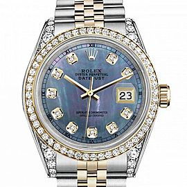 Women's Rolex 31mm Datejust Two Tone Bezel & Lugs Tahitian MOP Mother of Pearl Dial Hidden Clasp