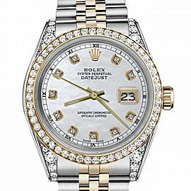 Women's Rolex 31mm Datejust Two Tone Bezel & Lugs White MOP Dial with Accent Hidden Clasp