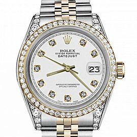 Women's Rolex 31mm Datejust Two Tone Bezel & Lugs White Color Dial with Accent RRT Hidden Clasp