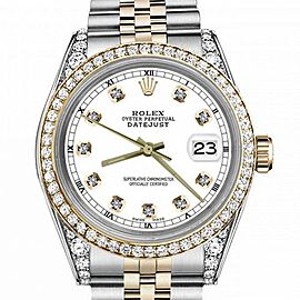 Women's Rolex 31mm Datejust Two Tone Bezel & Lugs White Color Dial with Accent RT Hidden Clasp