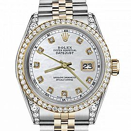 Women's Rolex 31mm Datejust Two Tone Bezel & Lugs White MOP Mother of Pearl Dial with Accen Hidden Clasp