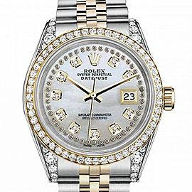 Women's Rolex 31mm Datejust Two Tone Bezel & Lugs White MOP Mother of Pearl String Dial Hidden Clasp
