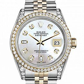 Women's Rolex 31mm Datejust Two Tone Bezel & Lugs White MOP Mother Of Pearl with 8 + 2 Accent Hidden Clasp