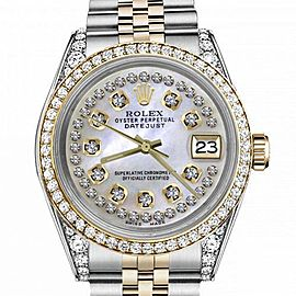 Women's Rolex 31mm Datejust Two Tone Bezel & Lugs White MOP String Dial Hidden Clasp