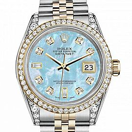Women's Rolex 31mm Datejust Two Tone Bezel & Lugs Baby Blue MOP Mother Of Pearl 8+2 Dial Hidden Clasp