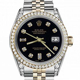 Women's Rolex 31mm Datejust Two Tone Bezel & Lugs Black Color Dial with 8 + 2 Hidden Clasp