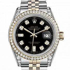 Women's Rolex 31mm Datejust Two Tone Bezel & Lugs Black Color Dial with 8 + 2 Accent Hidden Clasp