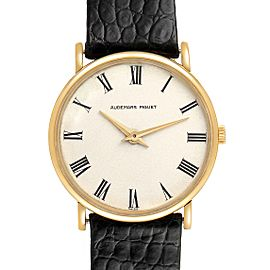 Audemars Piguet 18K Yellow Gold Black Strap Ladies Vintage Watch